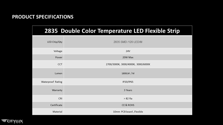 2835 Double Color Temperature LED Flex Strip Specifications